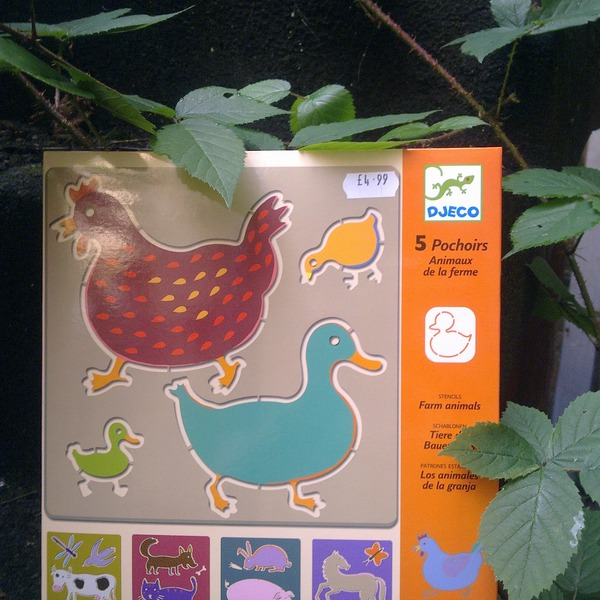 Large djeco stencils set farm animals set of five 5 crafts