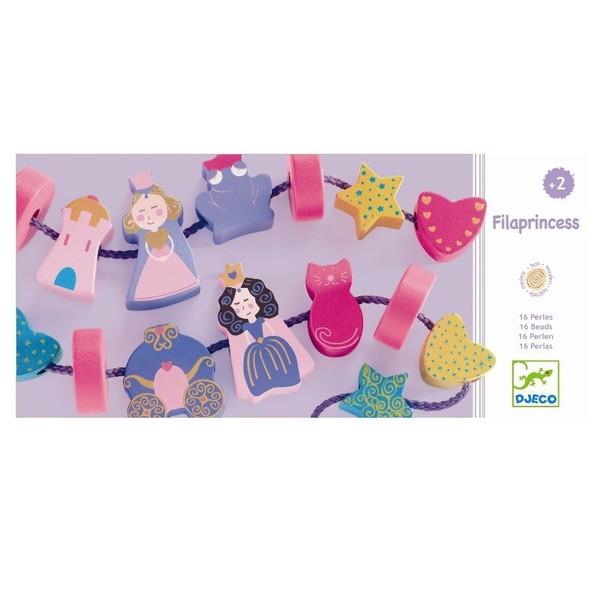 Large djeco filaprincess princess themed lacing beads fine motor skills toy