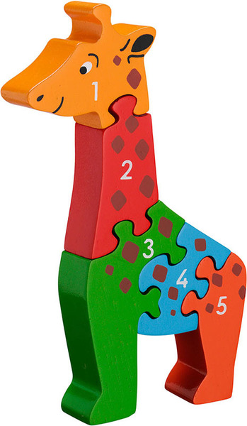 Large giraffe number puzzle 1 to 5 one to five jigsaw puzzle lanka kade fair trade toy toys wooden wood natural fun junction toy shop stop store crieff perth perthshire scotland
