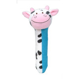 Small fiesta crafts squeakaboo cow rattle soft toy squeaker from birth onwards
