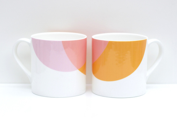 Large orange pink blink mug raw