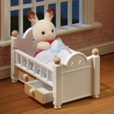 Small sylvanian families 5017 chocolate rabbit baby set cot bed with drawers
