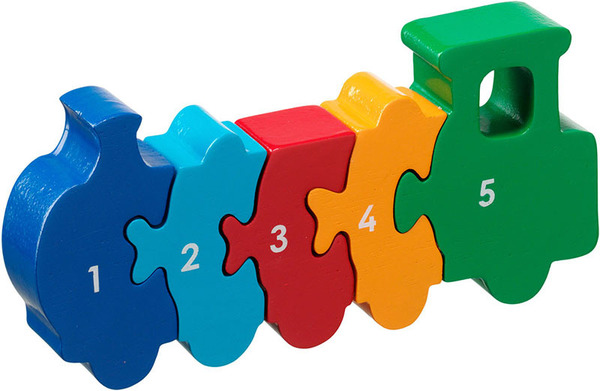 Large train jigsaw puzzle numbers 1 to 5 one to five counting lanka kade fair trade toy toys wooden wood natural fun junction toy shop stop store crieff perth perthshire scotland