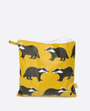 Small anorak kissing badgers large toiletry bag front