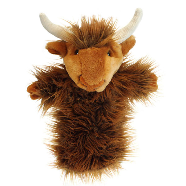 Large fun junction toy shop crieff perth perthshire scotland puppet company co long sleeved highland cow puppet