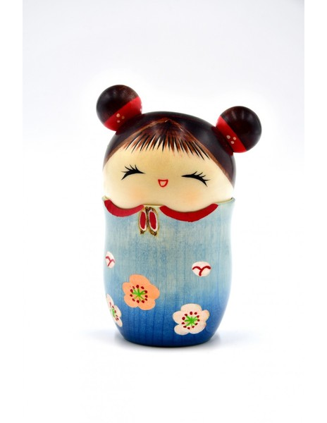 Large kokeshi doll memories blue omoide