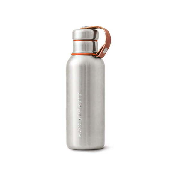 Large black blum insulated water bottle orange
