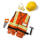 Small melissa doug dress up costume pretend play construction worker hard hat highvis high vis hammer saw goggles