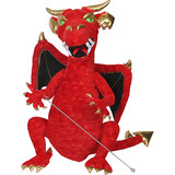 Small puppet company large red enchanted dragon