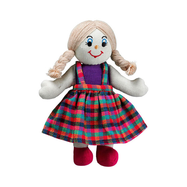Large rag doll girl white skin dark blonde hair cotton lanka kade fair trade toy toys natural fun junction toy shop stop store crieff perth perthshire scotland