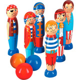 Small wooden skittles pirate pirates colourful bowling lanka kade fair trade toy toys wooden wood natural fun junction toy shop stop store crieff perth perthshire scotland 2