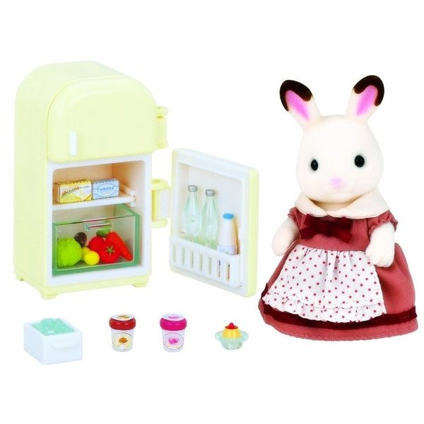 Large sylvanian families 5014 chocolate rabbit mother set with fridge refridgerator sq