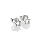 Small 1741 silver open star stud earrings