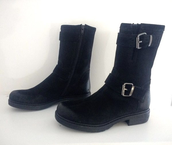 Large black buckle suede ankle boot manas blink