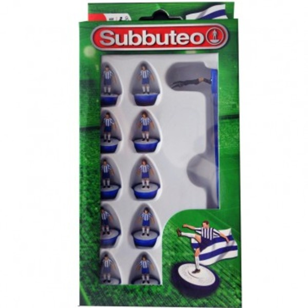 Large player blue and white team subbuteo table top football