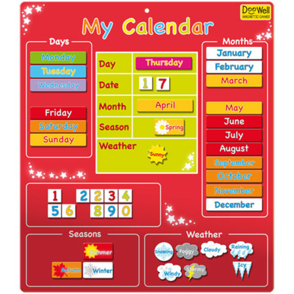 Large fiesta crafts my calendar red magnetic days of the year months seasons weather
